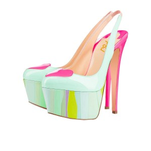 Light Green Slingback Pumps Pink Heart Platform High Heel Shoes