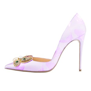Orchid Bridesmaid Shoes Rhinestone Stiletto Heel Pumps Wedding Shoes