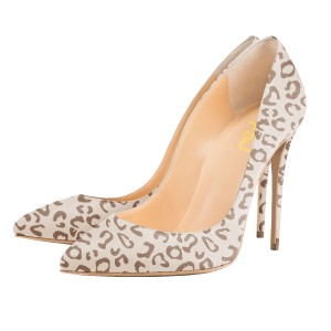 Women's Nude Leopard Print Heels Stiletto Pumps