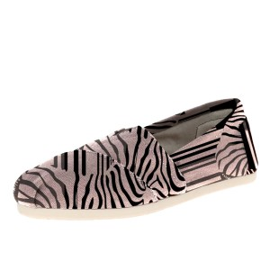 Pink Zebra Cartoon Printed Slip-On