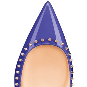 Blue Pointy Toe Flats Comfortable School Shoes