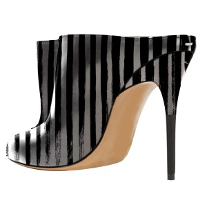 2019 in Seaon Black and Silver Striped Stiletto Heels Trendy Mules