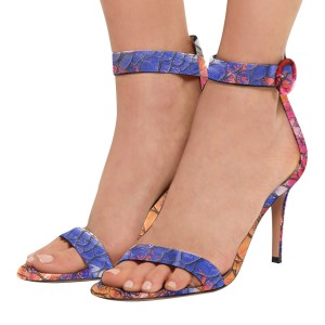 Women's Blue Open Toe Pebbling Ankle Strap Sandals