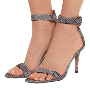 Women's Grey Cobra Stiletto Heel Ankle Strap Sandals