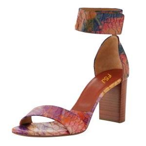 Multi-color Block Heel Sandals Ankle Strap Python High Heels