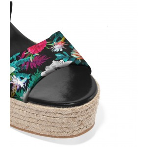 FSJ Floral Open Toe Light Weight Platform Sandals for Summer