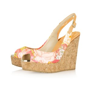 Women's Daisy Yellow Floral Wedge Heel Slingback Pumps