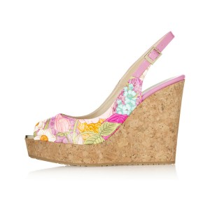 FSJ Floral Heels Peep Toe Cork Wedges Slingback Pumps US Size 3-15