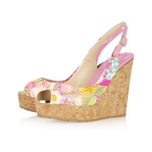 Pink Floral Heels Wedge Sandals Peep Toe Slingback Shoes