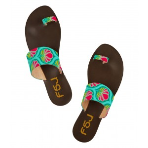 FSJ Green Floral Beach Sandals Summer Flat Sandals US Size 3-15