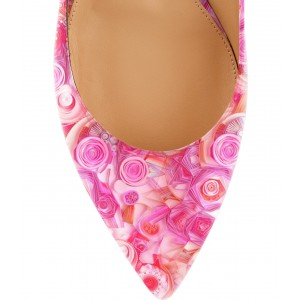Pink Floral Pointy Toe Flats Ankle Strap Comfortable Shoes