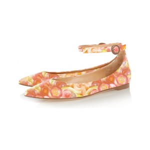 FSJ Orange Floral Anke Strap Pointy Toe Flats All Size Avaliable