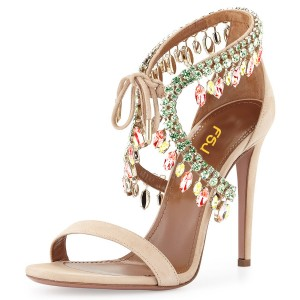 Beige Prom Shoes Lace up Suede Rhinestone Stiletto Heel Sandals