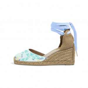 Turquoise Espadrille Wedges Floral Print Ankle Wrap Closed Toe Sandals