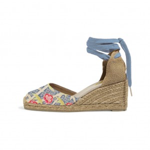 Blue Espadrille Wedges Floral Print Ankle Wrap Closed Toe Sandals