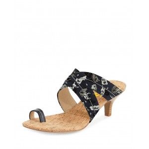 Leila Black Funny Face Printed Flats