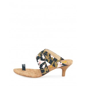 Dark Green Floral Heels Summer Sandals Kitten Heels Mule for Holiday