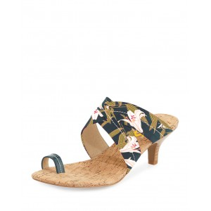 Green Floral Heels Summer Sandals Kitten Heels for Holiday