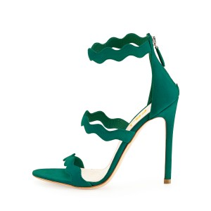 Green Stiletto Heels Suede Curve Open Toe Sandals for Female