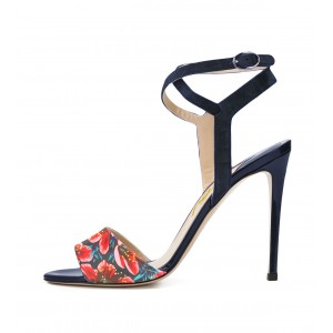 Leila Black Crossed Ankle Straps Sandals