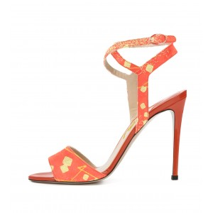 Orange Stiletto Heels Ankle Strap Open Toe Sandals for Female