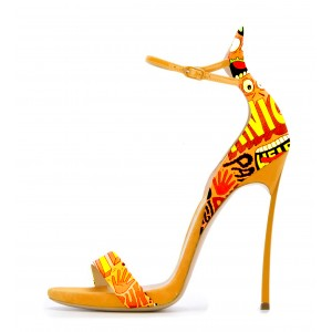 Yellow Floral Heels Ankle Strap Sandals Open Toe Stiletto Heel Sandals