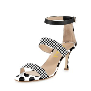 Leila Black and White Dots Mid-heel Sandals Women's Heels