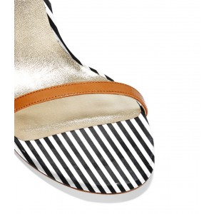 Zebra Black and White Stripes Ankle Strap Pencil Heel Sandals