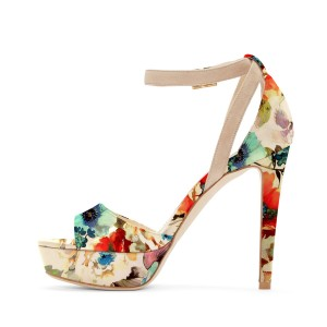 Women's Nude Open Toe Flowers Printed Ankle Strap Sandals