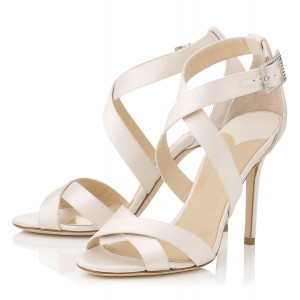 White Cross-over Straps Sandals Stiletto High Heels for Work
