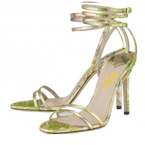 Lime Floral Ankle Strap Sandals Open Toe Stiletto Heels