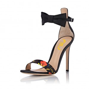 Floral Black Ankle Strap Sandals Stiletto Heels with Bow
