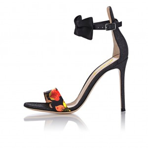 Black Floral Bow Heels Open Toe Stiletto Heel Ankle Strap Sandals
