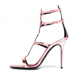 FSJ Shoes Pink Ankle Strap Heels Mirror Leather Sandals Stiletto Heels