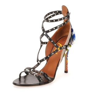 Black Studs Shoes Floral Print Stiletto Heel Strappy Sandals by FSJ