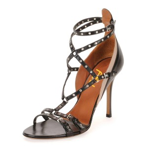 Black Studs Shoes Stiletto Heel Strappy Sandals for Office Lady