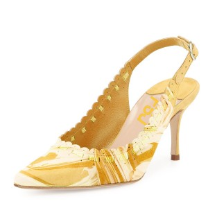 Yellow Slingback Pumps Floral Pointy Toe Cute Kitten Heels Shoes