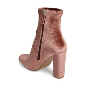 Blush Chunky Heel Boots Velvet Short Fashion Sock Boots