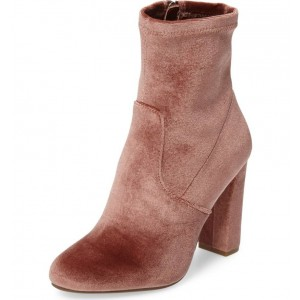 Women's Brown Pointed Toe Suede Ankle Chunky Heel Boots