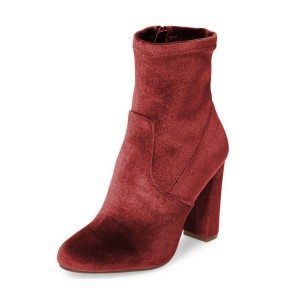 Women's Red Suede Pointed Toe Ankle Chunky Heel Boots