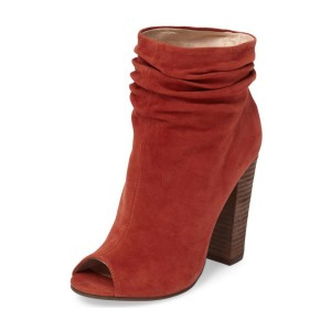 Brick Red Slouch Boots Peep Toe Suede Chunky Heels