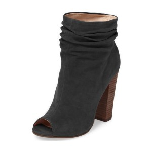 Dark Grey Slouch Boots Peep Toe Suede Chunky Heels