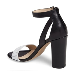 Women's Black And White Chunky Heels Dress Shoes Ankle Strap Sandals