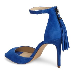 Cobalt Blue Tassel Sandals Peep Toe Stiletto Heel Sandals by FSJ