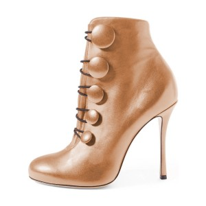 Women's Brown Strappy Round Toe Stiletto 4 Inch Heels Ankle Boots
