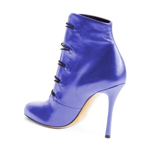 Women's Blue Strappy Round Toe  Stiletto 4 Inch Heels Ankle Boots