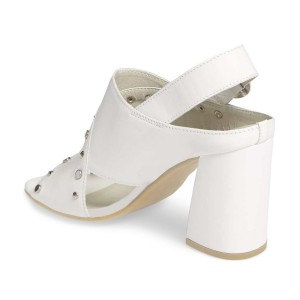 Ivory Studs Shoes Slingback Chunky Heel Sandals by FSJ
