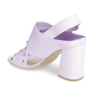 Light Purple Studs Shoes Slingback Chunky Heel Sandals by FSJ