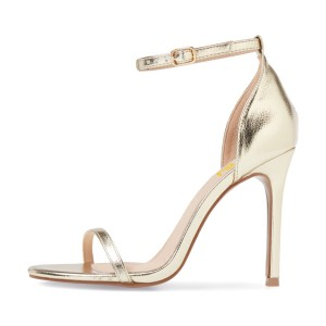 Golden Sandals Ankle Strap Glossy Stiletto High Heels