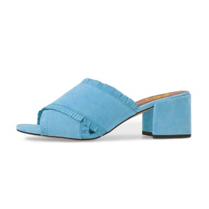 Women's Light Blue Peep Toe Mule Fringe Block Heel Sandals